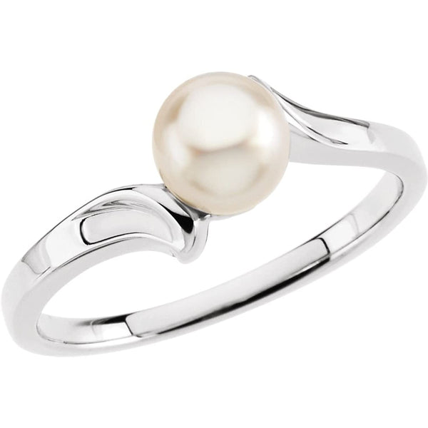 White Akoya Cultured Pearl Bypass Ring, 14k White Gold (5.5mm) Size 4.5