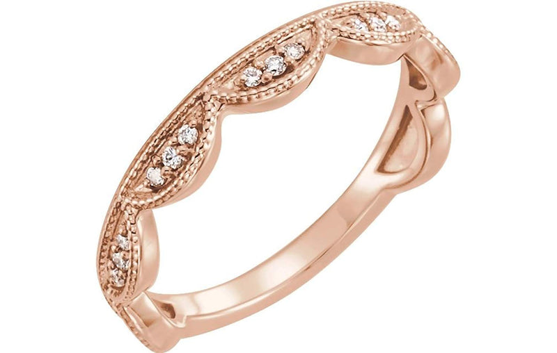 Diamond Scallop Stacking Ring, 14k Rose Gold (.125 Ctw, GH Color, I1 Clarity) Size 6