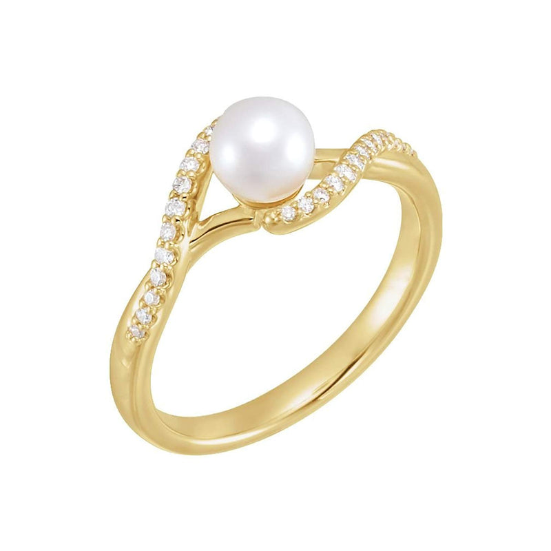 White Freshwater Cultured Pearl, Diamond Bypass Ring, 14k Yellow Gold (5-5.5mm)(0.1 Ctw, G-H color, I1 Clarity)