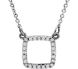 "Diamond Square 14k White Gold Pendant Necklace, 16"" (1/8 Cttw)"