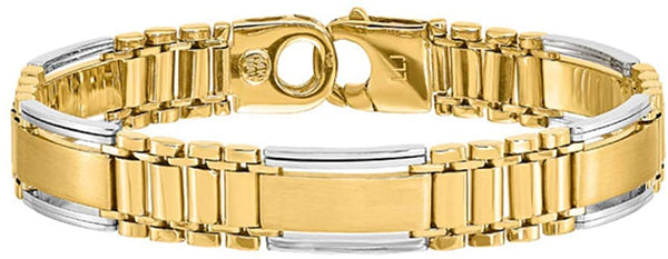 Men's Italian Two-Tone Polished and Satin 14k Yellow and White Gold Bar and 11.5mm Panther Link Bracelet, 8 Inches