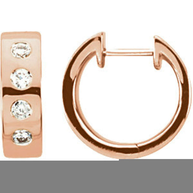 Diamond Hoop Earrings, Rhodium Plated 14k Rose Gold (1/3 Ctw, Color H-I, Clarity I1)