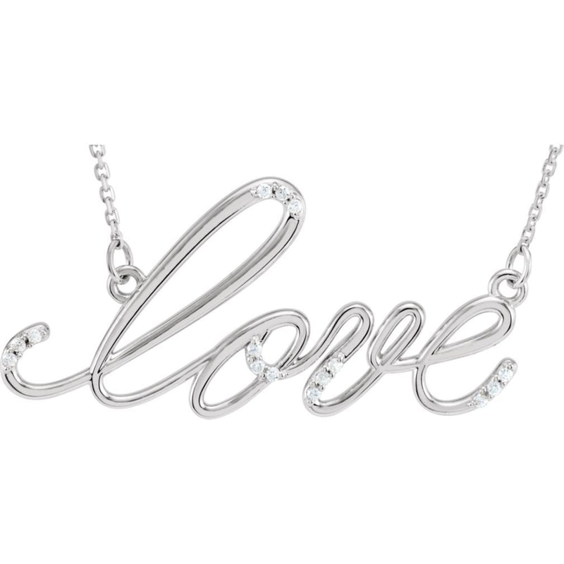 "Diamond 'Love' Sterling Silver Pendant Necklace, 18"" (.08 Cttw)"