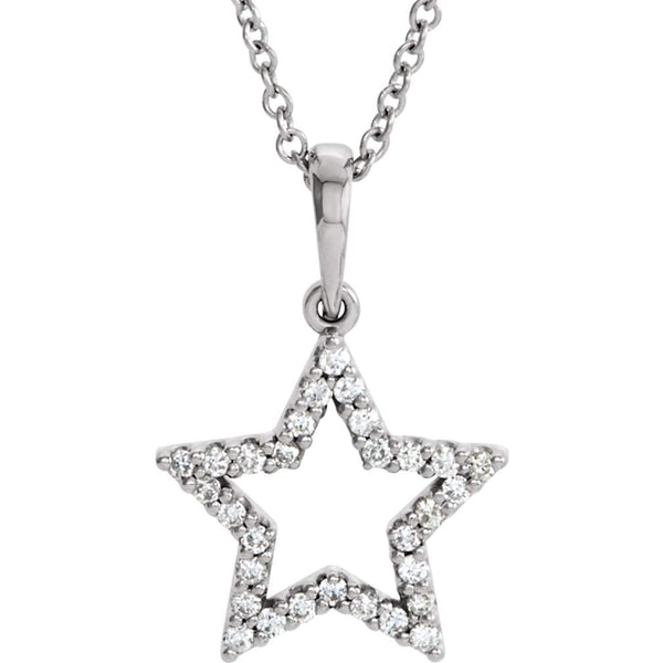 "Petite Diamond Star 14k White Gold Pendant Necklace, 16"" (1/6 Cttw)"