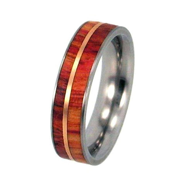 Tulip Wood, 12k Rose Gold Inlay 6.5mm Comfort Fit Titanium Wedding Band, Size 15