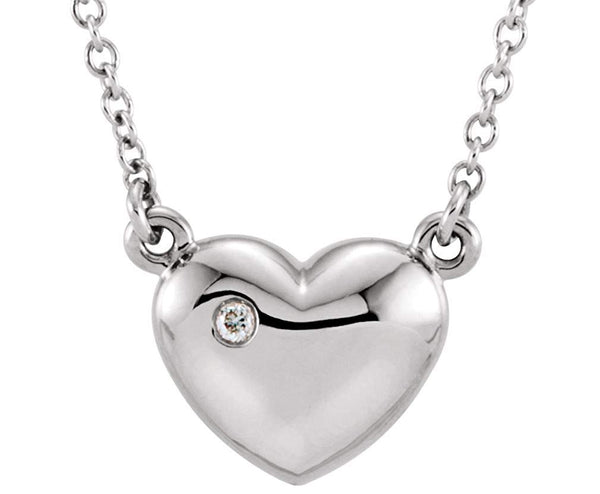 "Platinum Diamond Solitaire Heart Pendant Necklace, 16"" ( .01 Cttw)"
