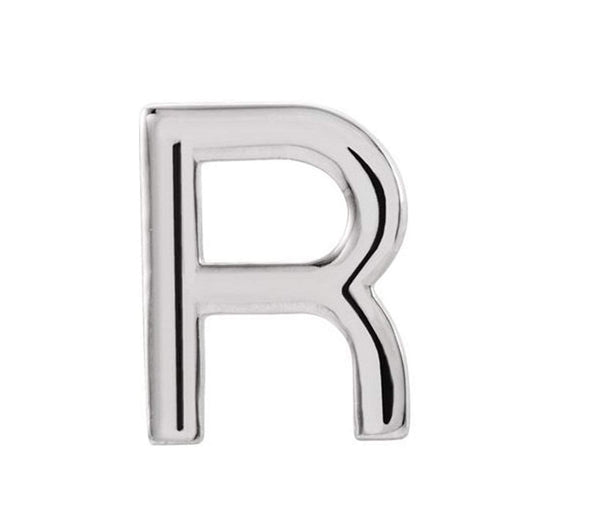 Platinum Initial Letter 'R' Stud Earring (Single Earring)