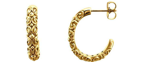 14k Yellow Gold Engraved Half-Hoop Earrings, 4.1MM