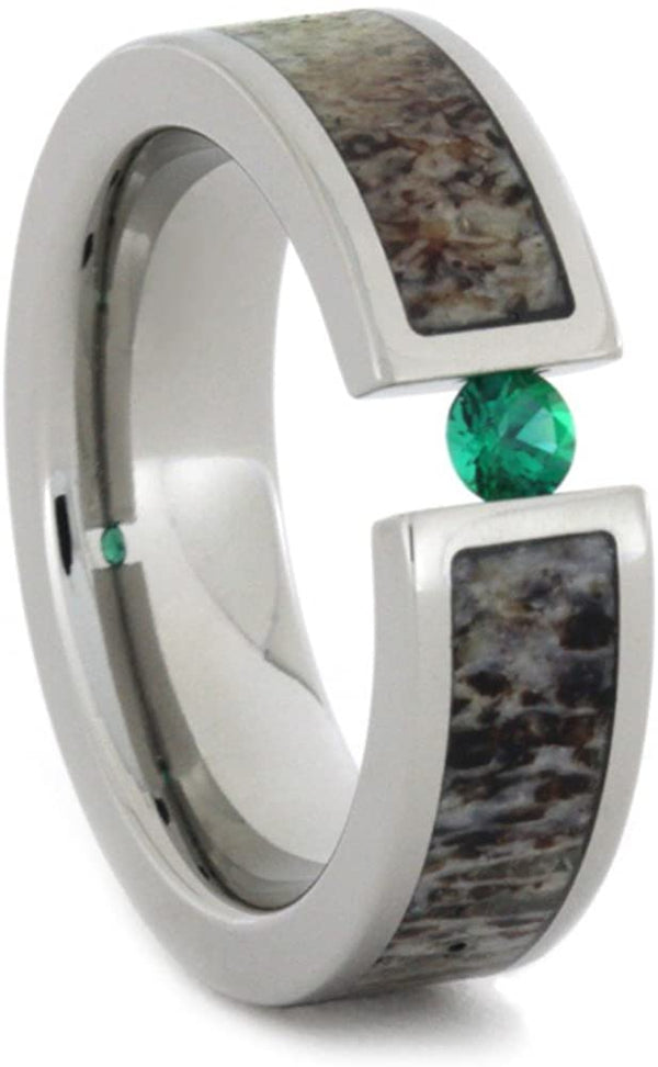 Tension Set Emerald and Deer Antler 6mm Comfort-Fit Titanium Wedding Band, Size 12.25