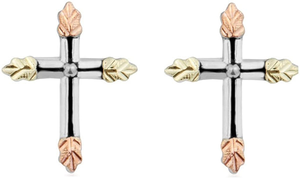 Antiquing with Beveled Edge Cross Earrings, Sterling Silver, 12k Green and Rose Gold Black Hills Gold Motif