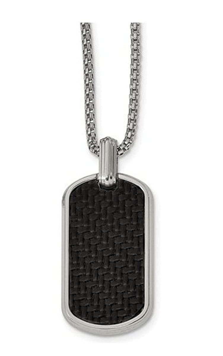 Edward Mirell Stainless Steel Black Carbon Fiber Dog Tag Necklace, 20""