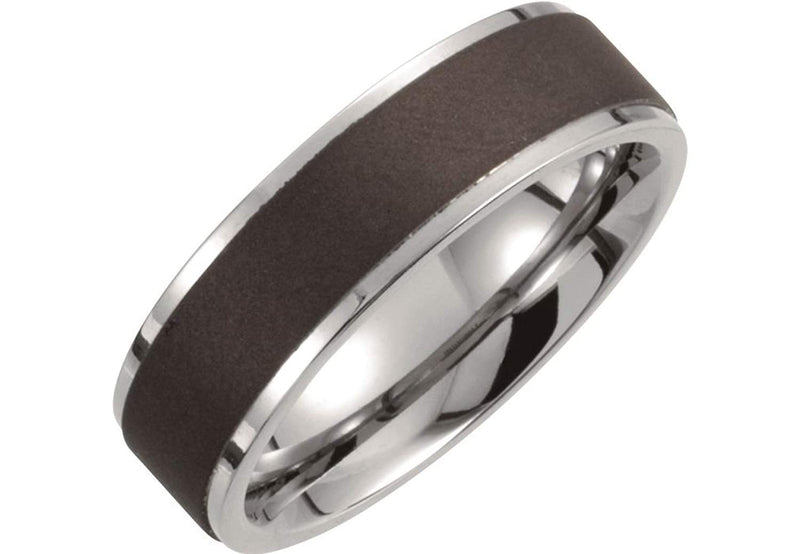 Satin Black Titanium 7mm Comfort Fit Band, Size 7.5