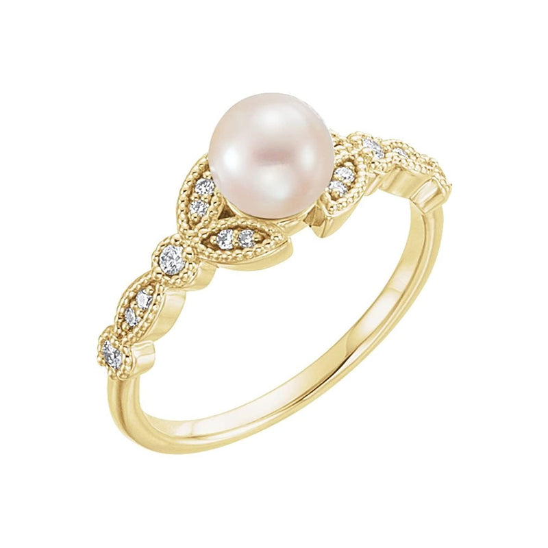 White Freshwater Cultured Pearl, Diamond Leaf Ring, 14k Yellow Gold (6-6.5mm)( .125 Ctw, Color G-H, Clarity I1)