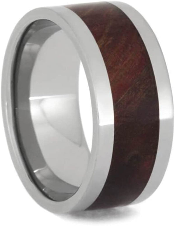 Ruby Redwood Burl 10mm Comfort-Fit Titanium Wedding Band, Size 9.5