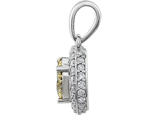 Yellow and White Diamond Halo Pendant in 14k White Gold, (3/8 Cttw)