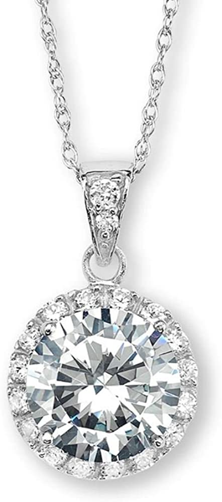 The Men's Jewelry Store (for HER) Round CZ Halo Pendant Rhodium Plated Sterling Silver Necklace, 18""