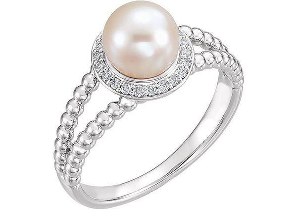 White Freshwater Cultured Pearl Diamond Halo 14k White Gold Ring (7-7.5 MM) (Color G-H, Clarity I1), Size 7.75