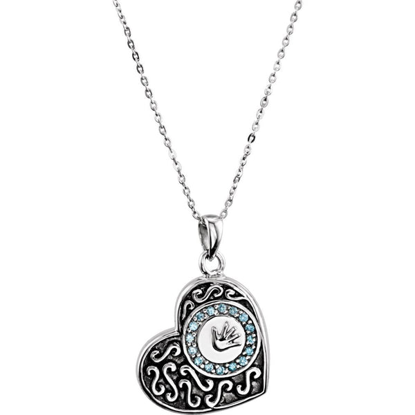 Antiqued Heart Ash Holder Necklace, Boy's Handprint with Blue CZs, Rhodium Plate Sterling Silver, 18""