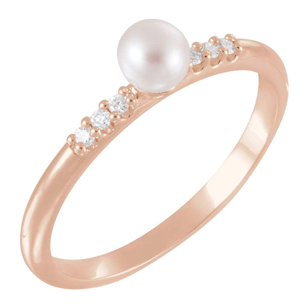 White Cultured Pearl, Diamond Stackable Ring, 14k Rose Gold (4-4.5mm)(.05Ctw, Color G-H, Clarity I1)