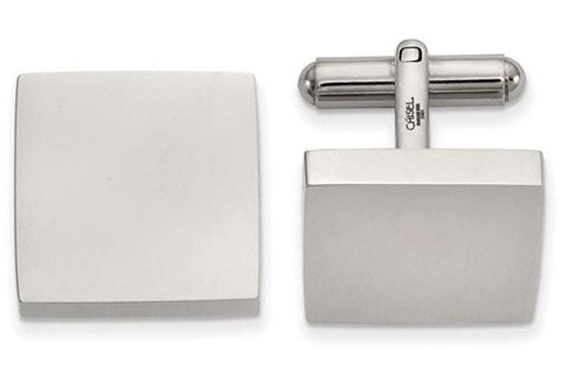 Stainless Steel Polished white Square Cuff Links, 19.37MMX17.94MM