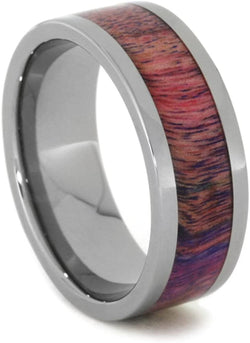 Pink and Purple Poplar Wood 8mm Comfort-Fit Titanium Wedding Band, Size 14.75