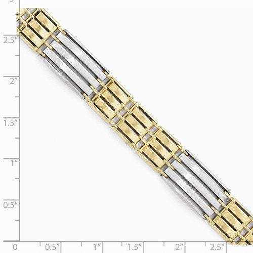 Men's Two-Tone 14k Yellow and White Gold Link Bracelet, 8.25""