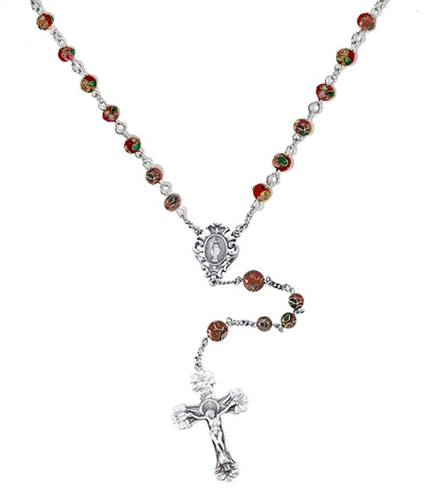 Red Cloisonne Rosary Beads, Sterling Silver