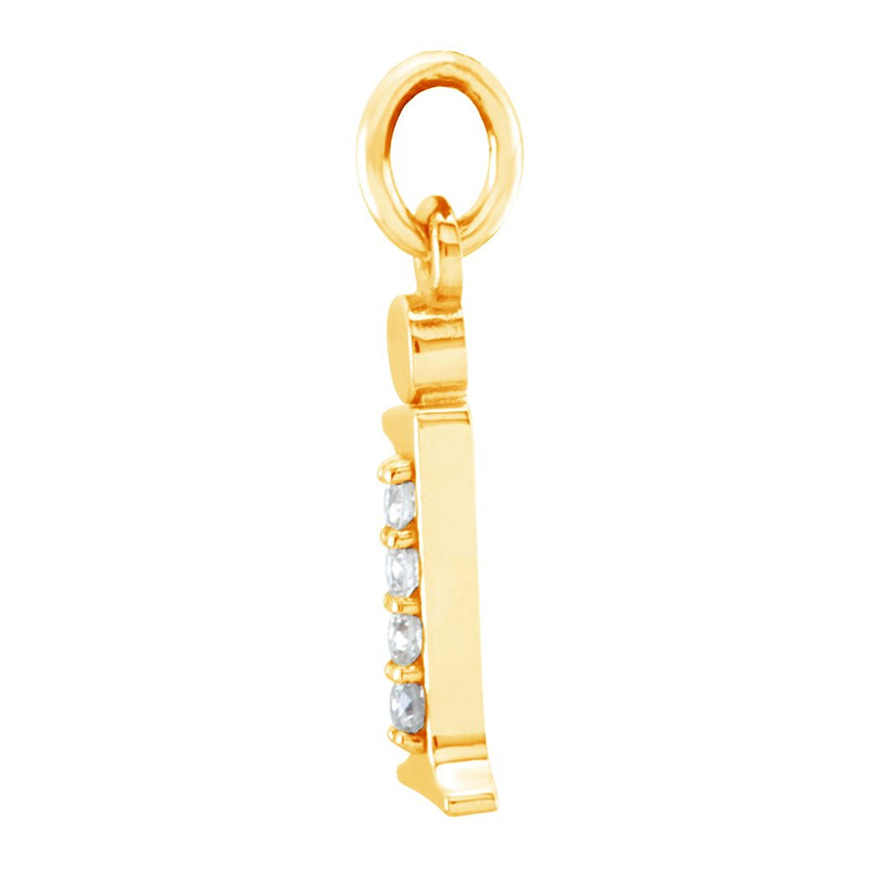 Diamond Initial 'i' Lowercase Alphabet Letter 14k Yellow Gold Pendant (.025 Cttw GH Color, I1 Clarity)