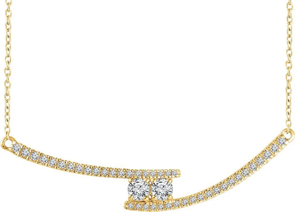"Diamond Two-Stone Bar Necklace in 14k Yellow Gold, 16-18"" (3/8 Ctw, Color H+, Clarity I1)"