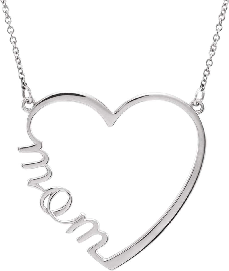 14k Rose Gold 'Mom' Heart Necklace, 17""