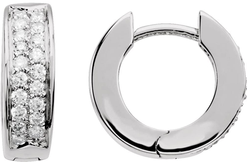 Diamond Hoop Earrings, 14k White Gold, 3.99mm (.07 Ctw, Color GH, Clarity SI1)