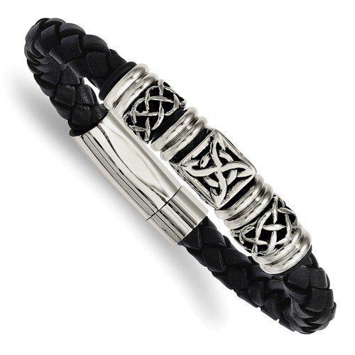 Men's Stainless Steel 14mm Black Leather with Antiqued Beads Bracelet, 8.5""