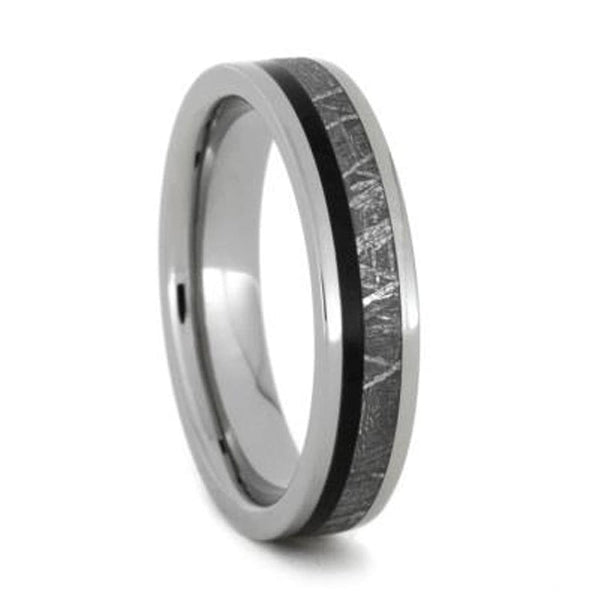 Meteorite, African Blackwood Comfort-Fit Titanium Couples Wedding Band Set