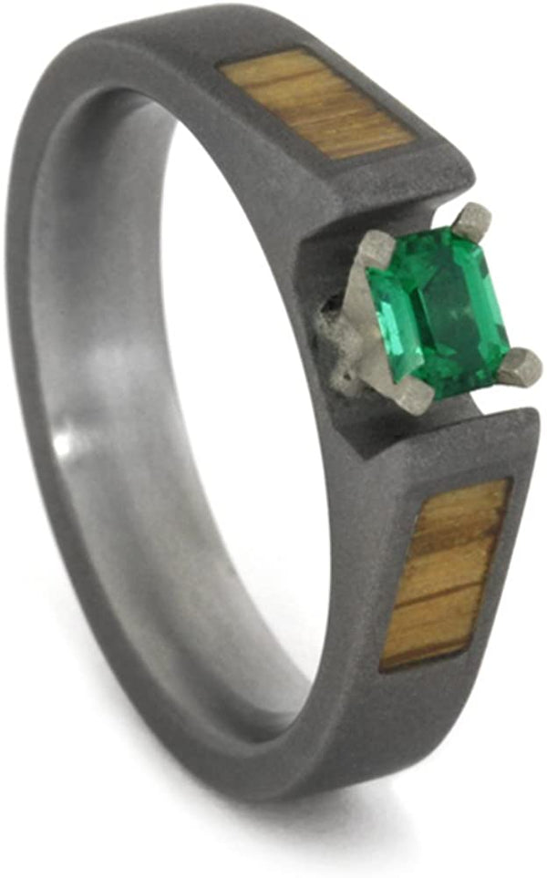 Emerald with Oak Wood Panels 4mm Comfort-Fit Sandblasted Titanium Band, Size 5.75