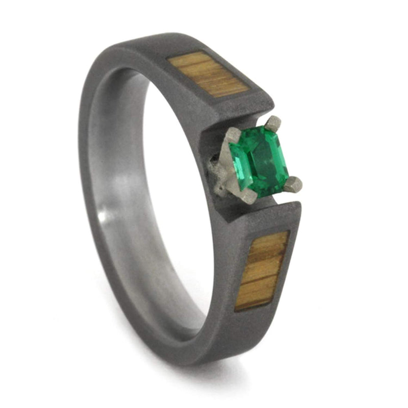 Emerald Cathedral, Oak Wood 4mm Comfort-Fit Sandblast Titanium Band