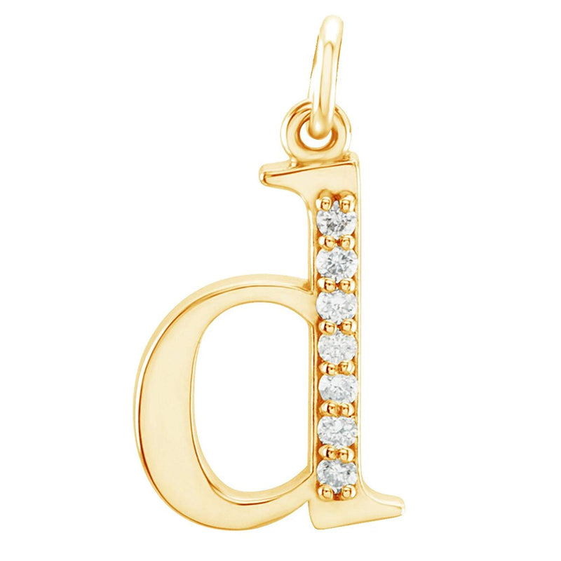 Diamond Initial 'd' Lowercase Alphabet Letter 14k Yellow Gold Pendant (.04 Cttw GH Color, SI1 Clarity)