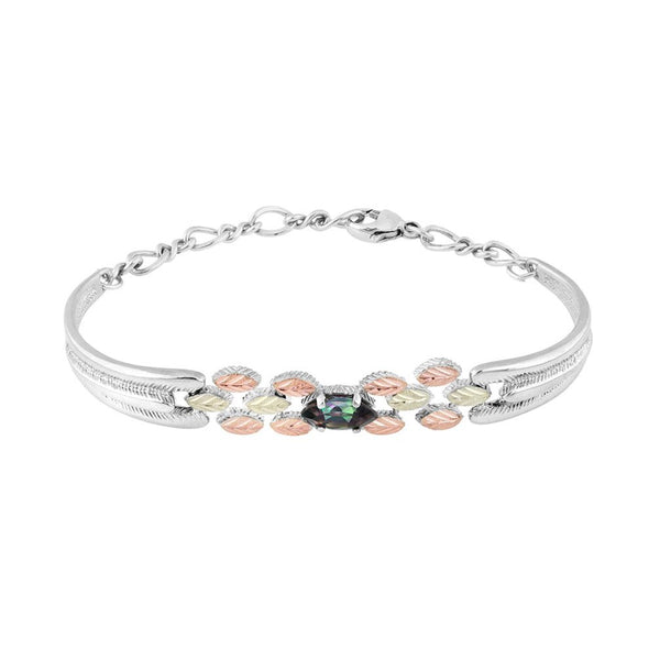 "Mystic Fire Bracelet, Sterling Silver, 12k Green Gold, 12k Rose Gold Black Hills Gold, 6.5"" to 8"""