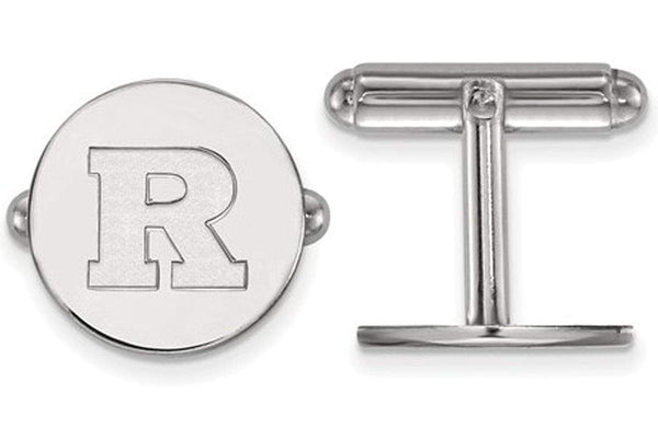 Rhodium plating Rhodium-Plated Sterling Silver Rutgers Round Cuff Links,15MM