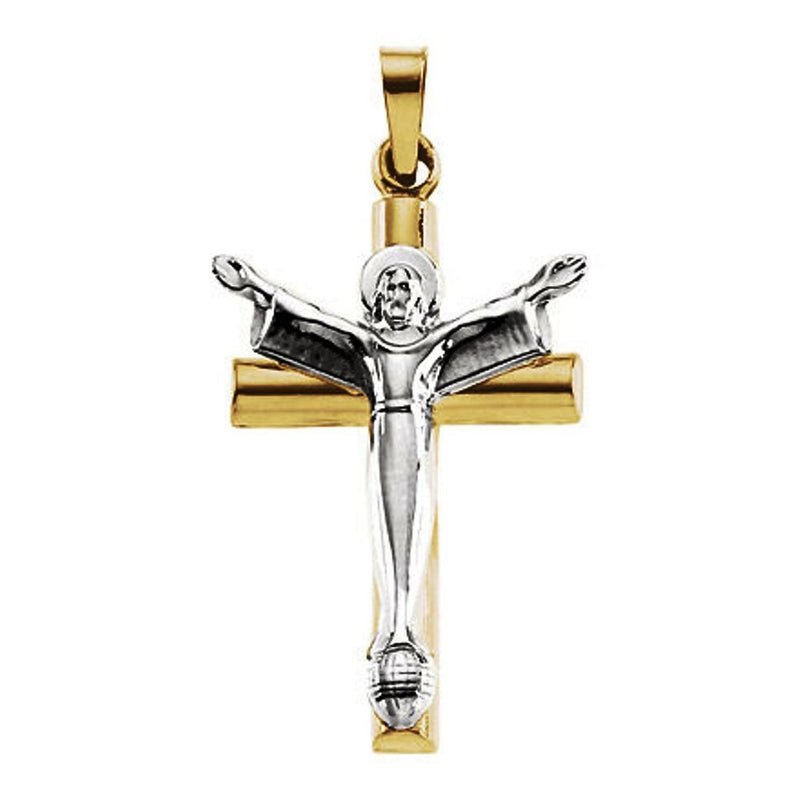 Two-Tone Risen Christ Crucifix 14k Yellow and White Gold Pendant (32X21MM)