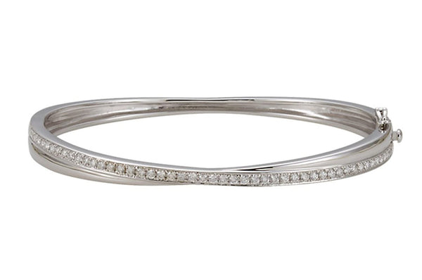"Diamond Bangle Bracelet, 14k White Gold, 6.75"" (1 Cttw, GH Color, I1 Clarity)"