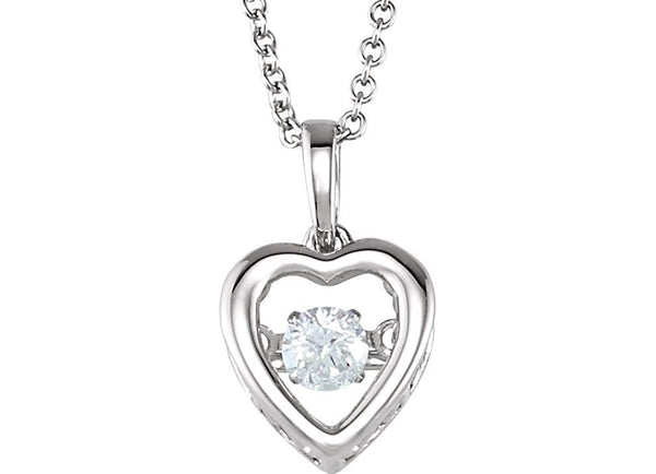 "Mystara Diamond Heart 14k White Gold Pendant Necklace, 18"" (1/6 Cttw)"