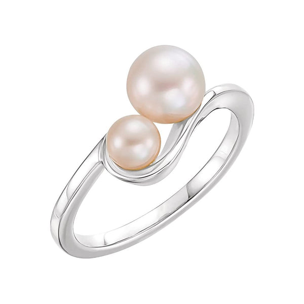 Platinum White Freshwater Cultured Pearl Two-Stone Ring (4.5-5mm, 6.5-7mm) Size 8