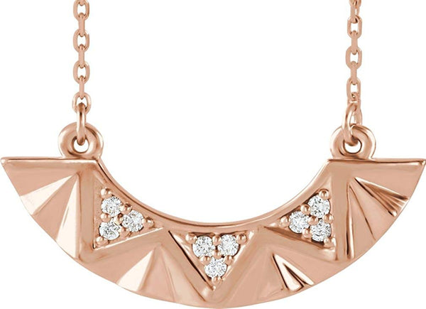 "Diamond Curved Bar Necklace, 14k Rose Gold, 16-18"" (.08 Ctw, G-H Color, I1 Clarity)"