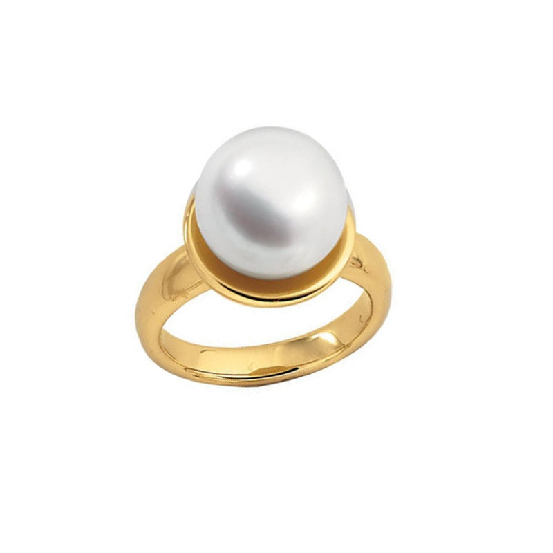 White South Sea Cultured Pearl Ring, 18k Yellow Gold (12mm) Size 8