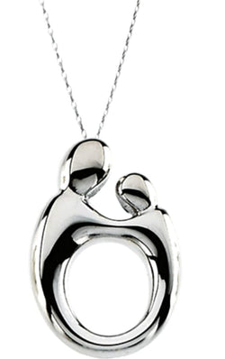 Small Mother and Child Rhodium Plated Sterling Silver Adjustable Necklace, 22""
