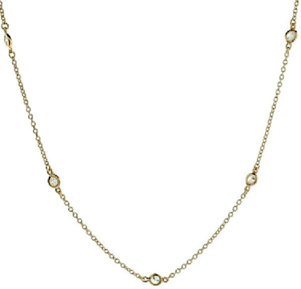 14k Yellow Gold Cubic Zirconia Station Necklace, 18""
