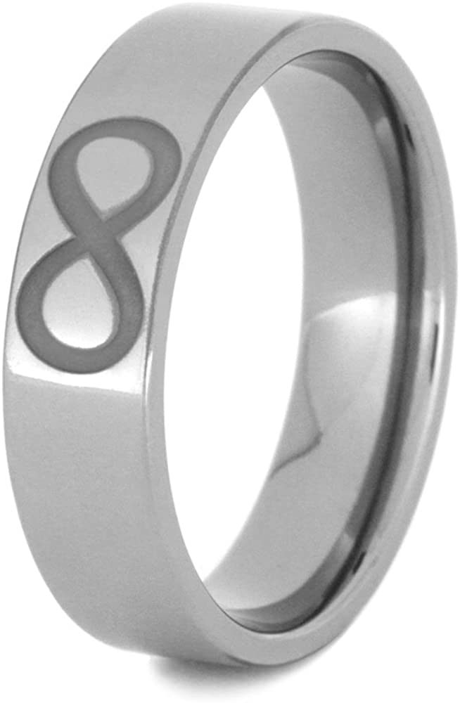 The Men's Jewelry Store (Unisex Jewelry) Fish, Infinity, and Trinity Symbols 6mm Comfort-Fit Titanium Band, Size 7