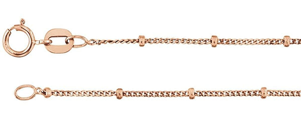 1mm 14k Rose Gold Solid Beaded Curb Chain, 16""