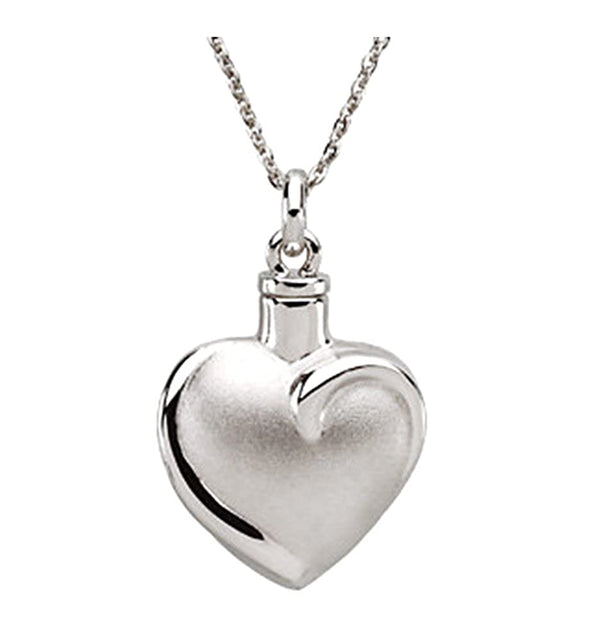 Sculpted Heart Ash Holder Pendant Necklace, Rhodium Plate Sterling Silver, 18""