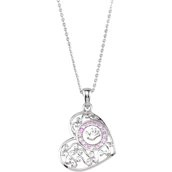 'Handprints on My Heart' Memorial Pendant Necklace, Rhodium Plate Sterling Silver, 18""